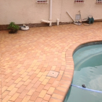 Corobrick Cederberg clay pavers are a very popular choice around swimming pools.
